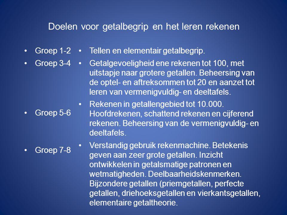 Doelen voor getalbegrip en het leren rekenen Groep 1-2 Groep 3-4 Groep 5-6 Groep 7-8 Tellen en elementair getalbegrip.