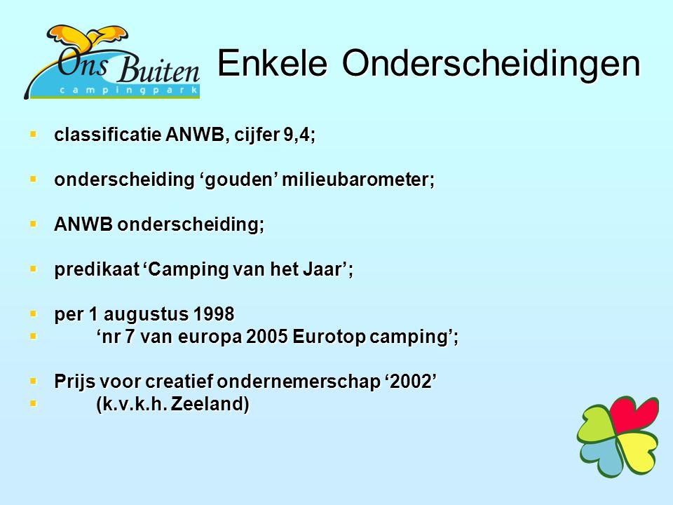 Enkele Onderscheidingen  classificatie ANWB, cijfer 9,4;  onderscheiding 'gouden' milieubarometer;  ANWB onderscheiding;  predikaat 'Camping van het Jaar';  per 1 augustus 1998  'nr 7 van europa 2005 Eurotop camping';  Prijs voor creatief ondernemerschap '2002'  (k.v.k.h.