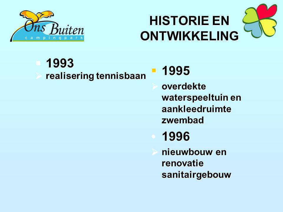 HISTORIE EN ONTWIKKELING  1993  realisering tennisbaan  1995  overdekte waterspeeltuin en aankleedruimte zwembad 19961996  nieuwbouw en renovatie sanitairgebouw