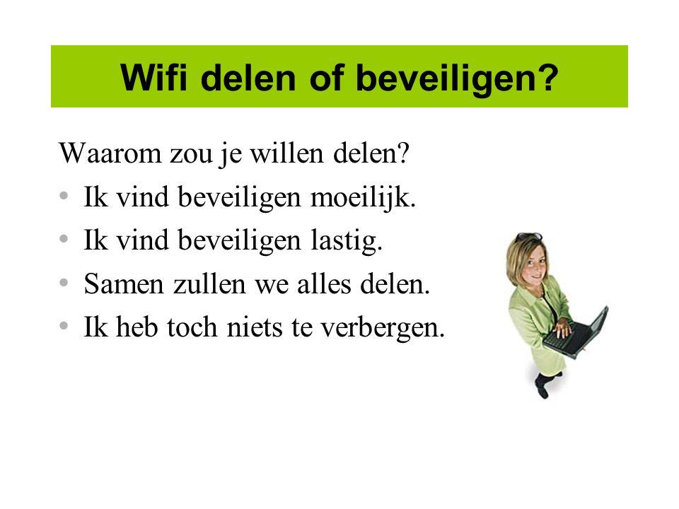 Wifi delen of beveiligen.Waarom zou je willen delen.