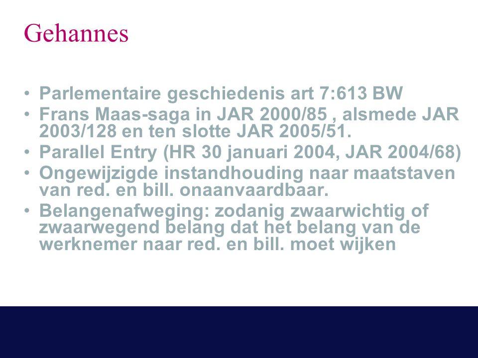 Gehannes Parlementaire geschiedenis art 7:613 BW Frans Maas-saga in JAR 2000/85, alsmede JAR 2003/128 en ten slotte JAR 2005/51.