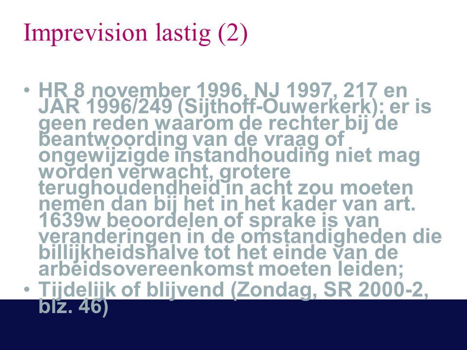Imprevision lastig (2) HR 8 november 1996, NJ 1997, 217 en JAR 1996/249 (Sijthoff-Ouwerkerk): er is geen reden waarom de rechter bij de beantwoording