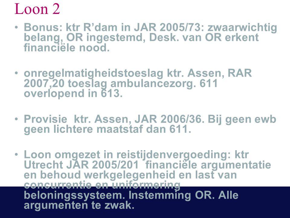 Loon 2 Bonus: ktr R'dam in JAR 2005/73: zwaarwichtig belang, OR ingestemd, Desk. van OR erkent financiële nood. onregelmatigheidstoeslag ktr. Assen, R