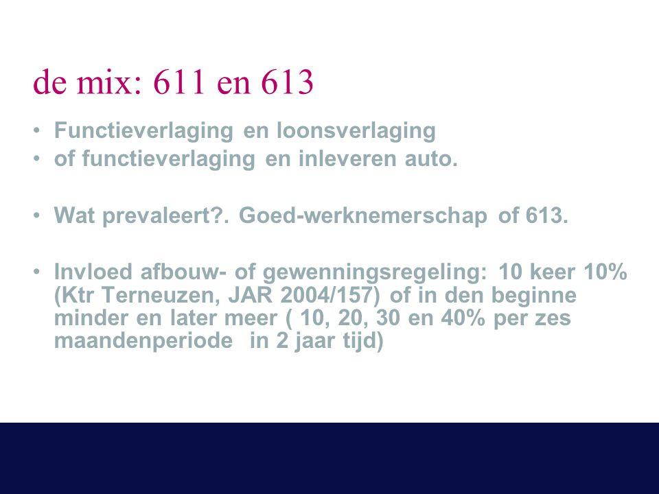 de mix: 611 en 613 Functieverlaging en loonsverlaging of functieverlaging en inleveren auto. Wat prevaleert?. Goed-werknemerschap of 613. Invloed afbo