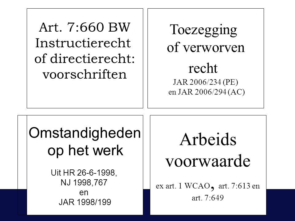 Art. 7:660 BW Instructierecht of directierecht: voorschriften Toezegging of verworven recht JAR 2006/234 (PE) en JAR 2006/294 (AC) Arbeids voorwaarde