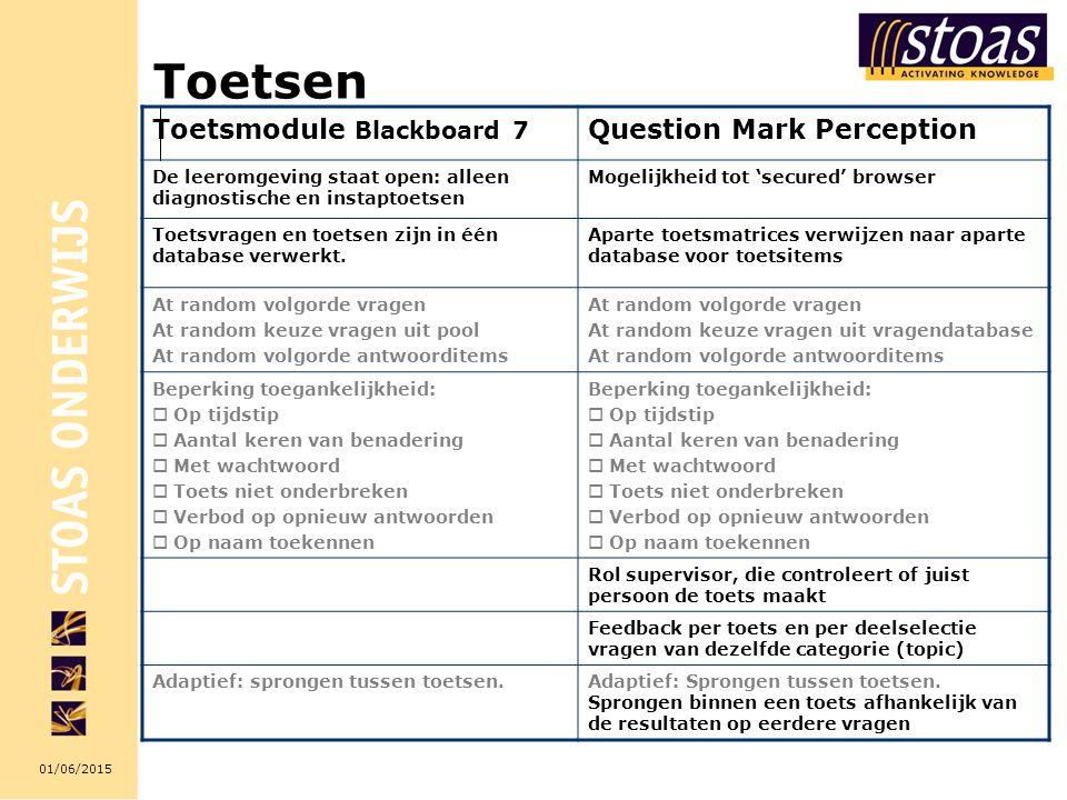 01/06/2015 Toetsen Toetsmodule Blackboard 7 Question Mark Perception De leeromgeving staat open: alleen diagnostische en instaptoetsen Mogelijkheid tot 'secured' browser Toetsvragen en toetsen zijn in één database verwerkt.
