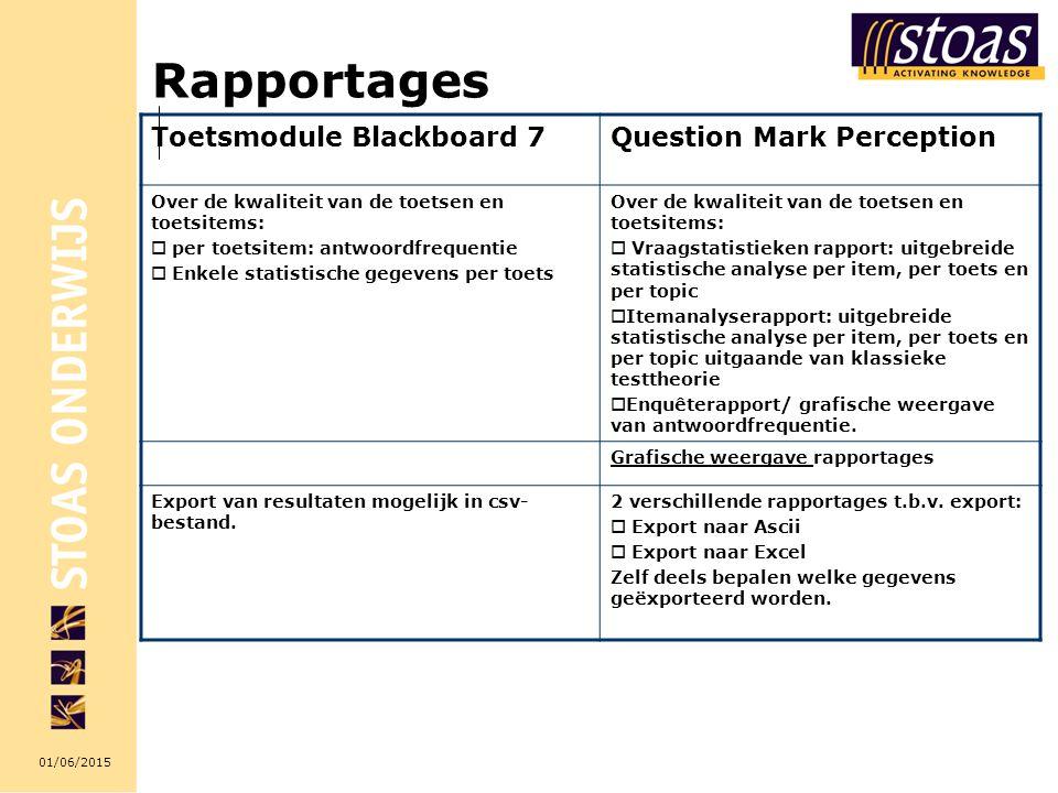 01/06/2015 Rapportages Toetsmodule Blackboard 7Question Mark Perception Over de kwaliteit van de toetsen en toetsitems:  per toetsitem: antwoordfrequentie  Enkele statistische gegevens per toets Over de kwaliteit van de toetsen en toetsitems:  Vraagstatistieken rapport: uitgebreide statistische analyse per item, per toets en per topic  Itemanalyserapport: uitgebreide statistische analyse per item, per toets en per topic uitgaande van klassieke testtheorie  Enquêterapport/ grafische weergave van antwoordfrequentie.