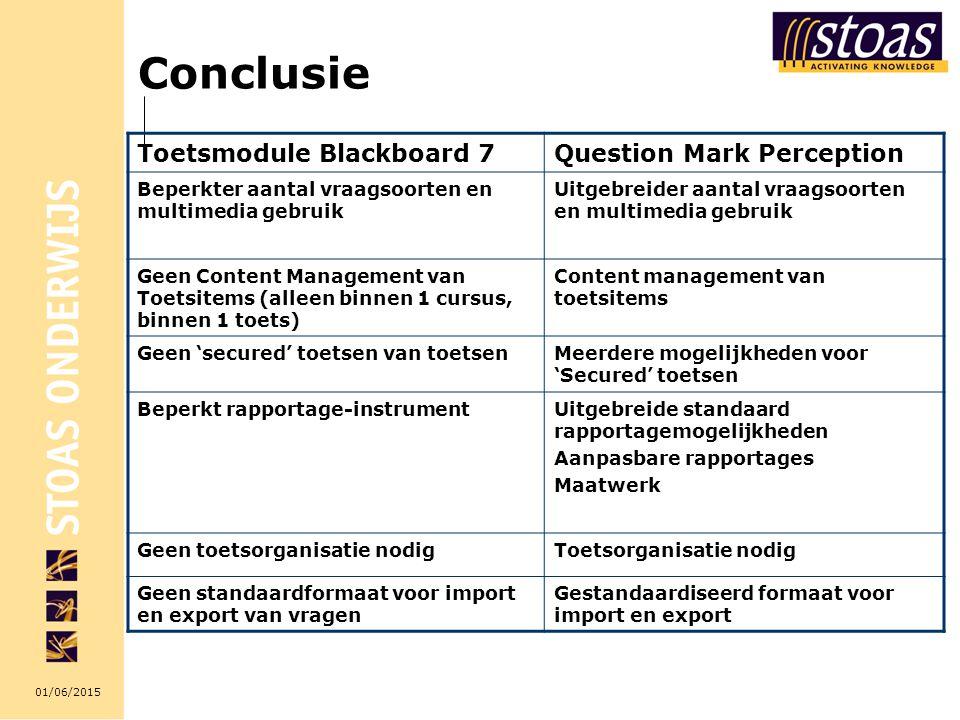 01/06/2015 Conclusie Toetsmodule Blackboard 7Question Mark Perception Beperkter aantal vraagsoorten en multimedia gebruik Uitgebreider aantal vraagsoo
