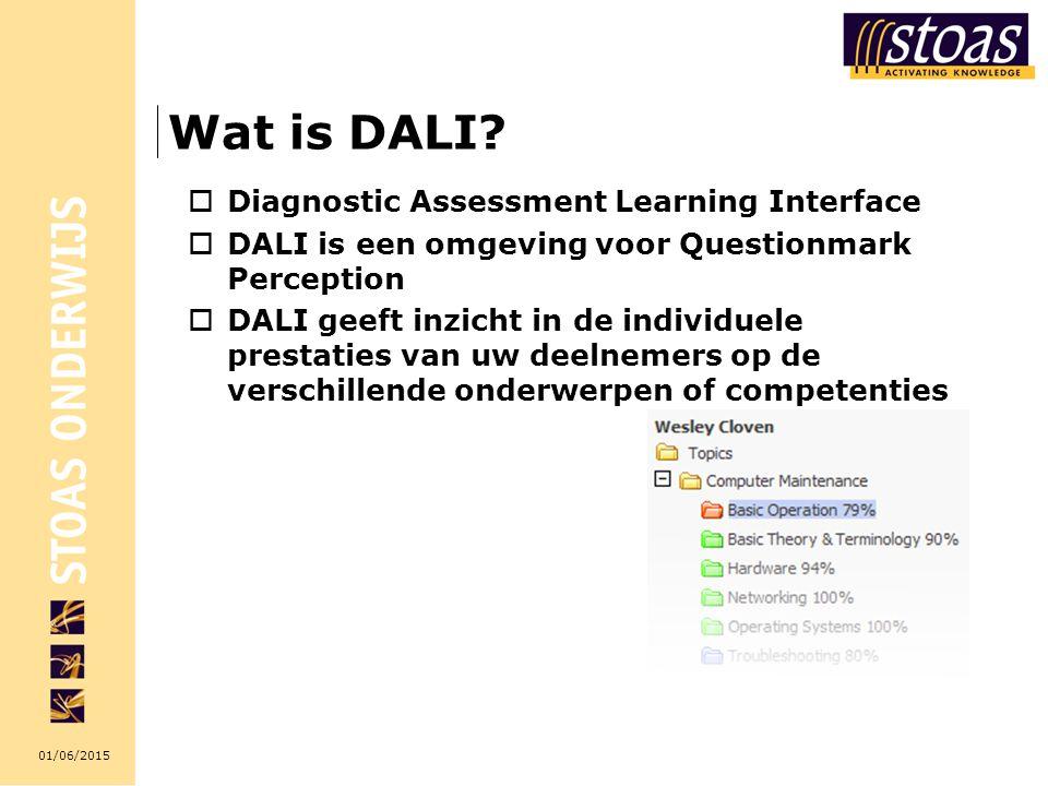 01/06/2015 Wat is DALI?  Diagnostic Assessment Learning Interface  DALI is een omgeving voor Questionmark Perception  DALI geeft inzicht in de indi