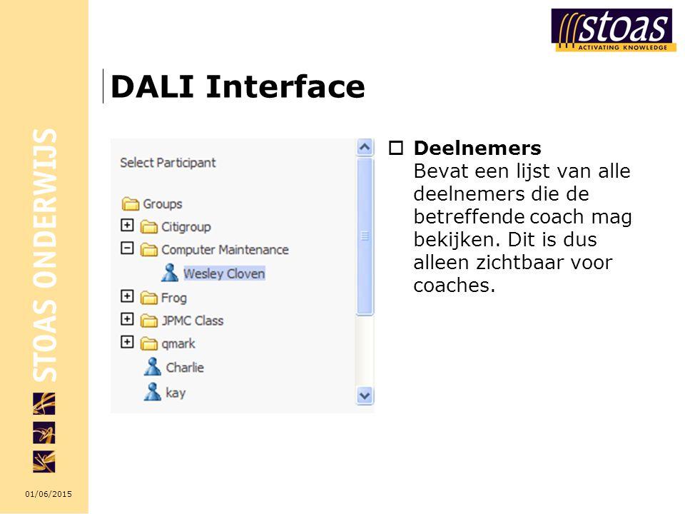 01/06/2015 DALI Interface  Deelnemers Bevat een lijst van alle deelnemers die de betreffende coach mag bekijken.