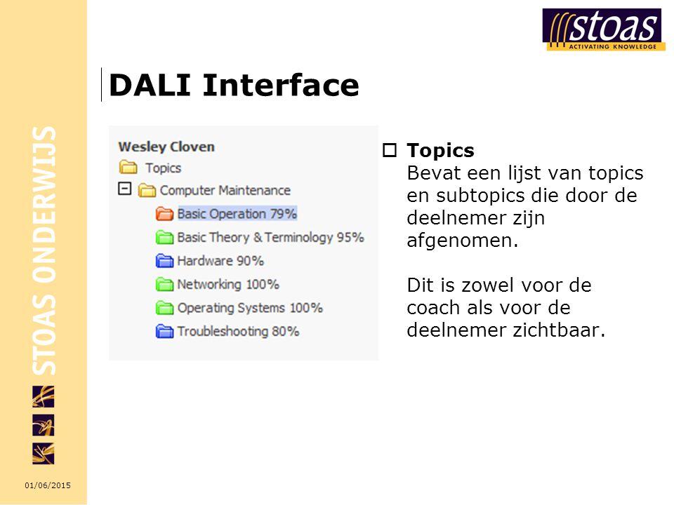 01/06/2015 DALI Interface  Topics Bevat een lijst van topics en subtopics die door de deelnemer zijn afgenomen. Dit is zowel voor de coach als voor d