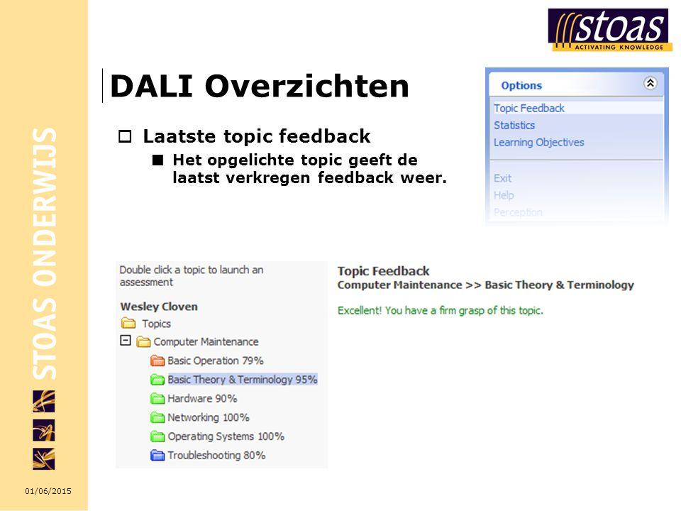 01/06/2015 DALI Overzichten  Laatste topic feedback Het opgelichte topic geeft de laatst verkregen feedback weer.