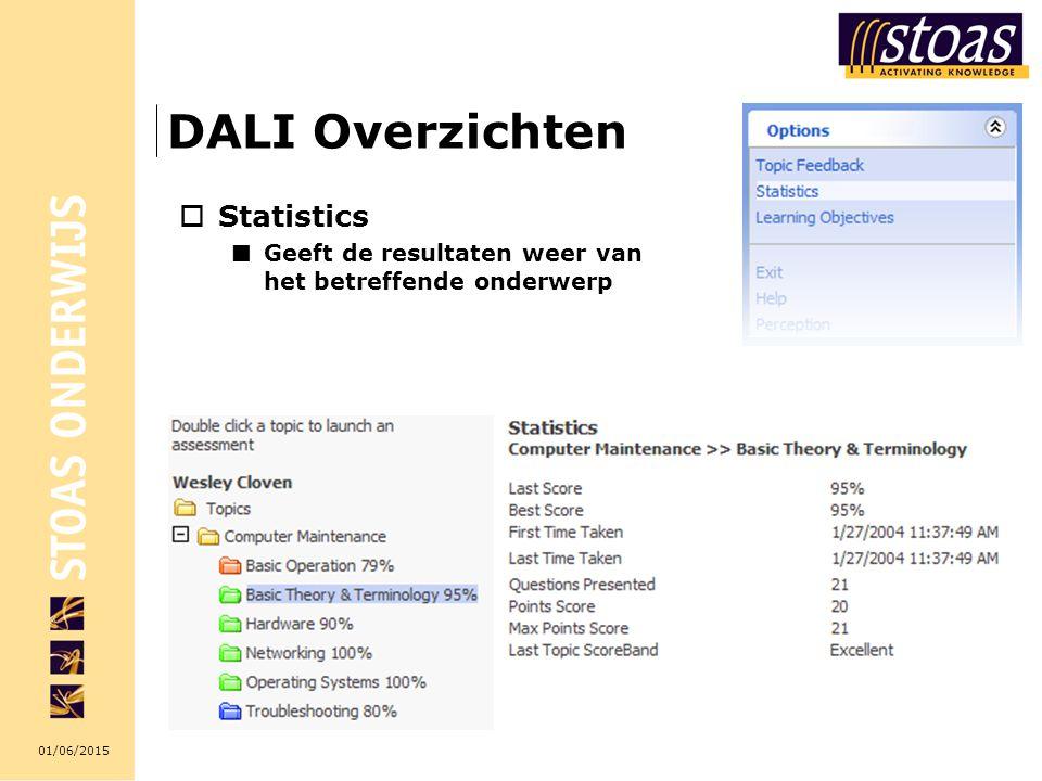 01/06/2015 DALI Overzichten  Statistics Geeft de resultaten weer van het betreffende onderwerp