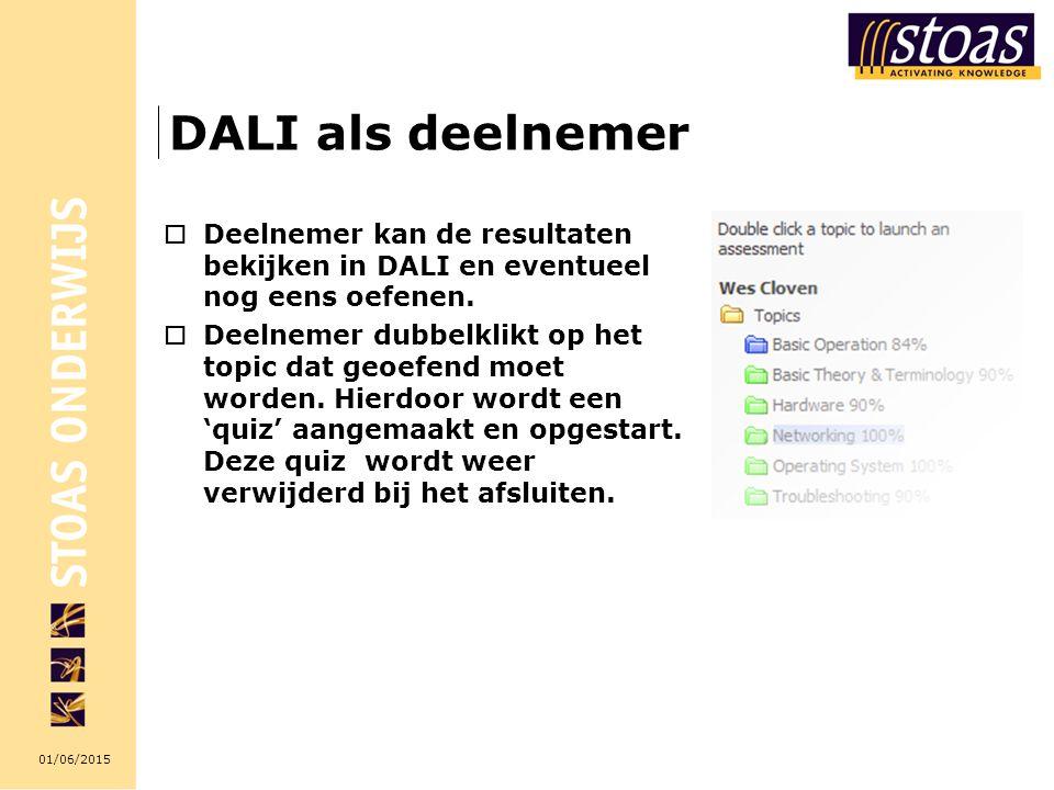 01/06/2015 DALI als deelnemer  Deelnemer kan de resultaten bekijken in DALI en eventueel nog eens oefenen.  Deelnemer dubbelklikt op het topic dat g