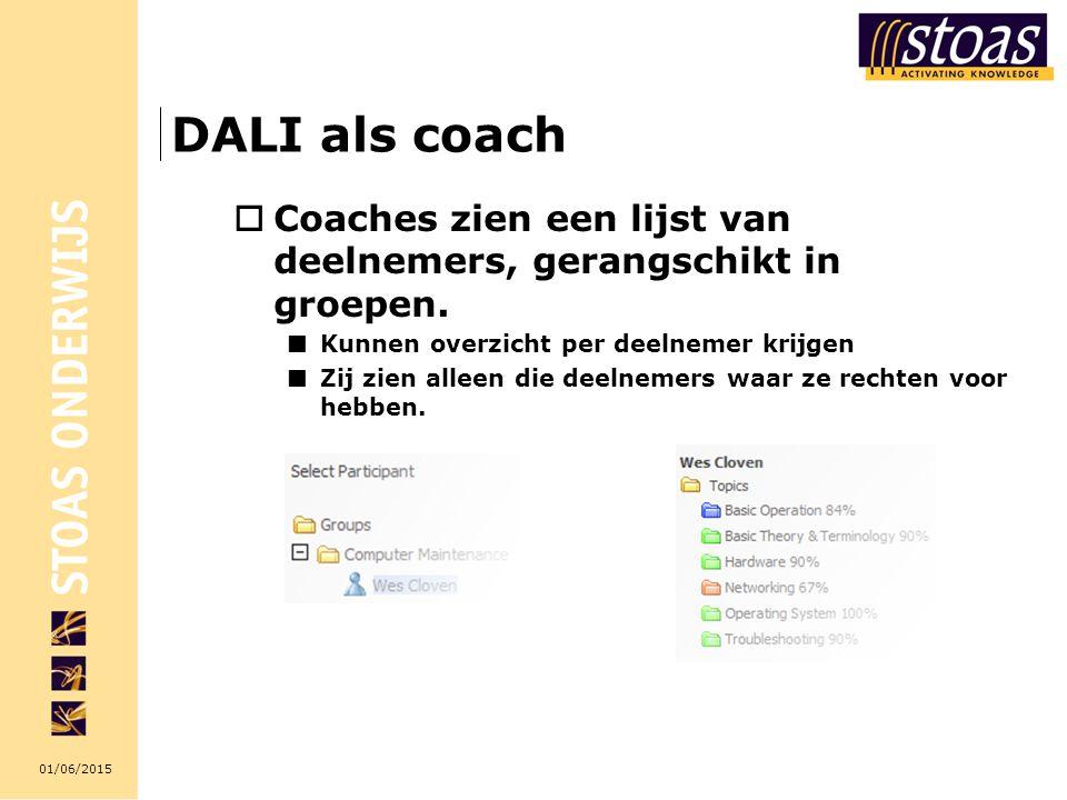 01/06/2015 DALI als coach  Coaches zien een lijst van deelnemers, gerangschikt in groepen. Kunnen overzicht per deelnemer krijgen Zij zien alleen die