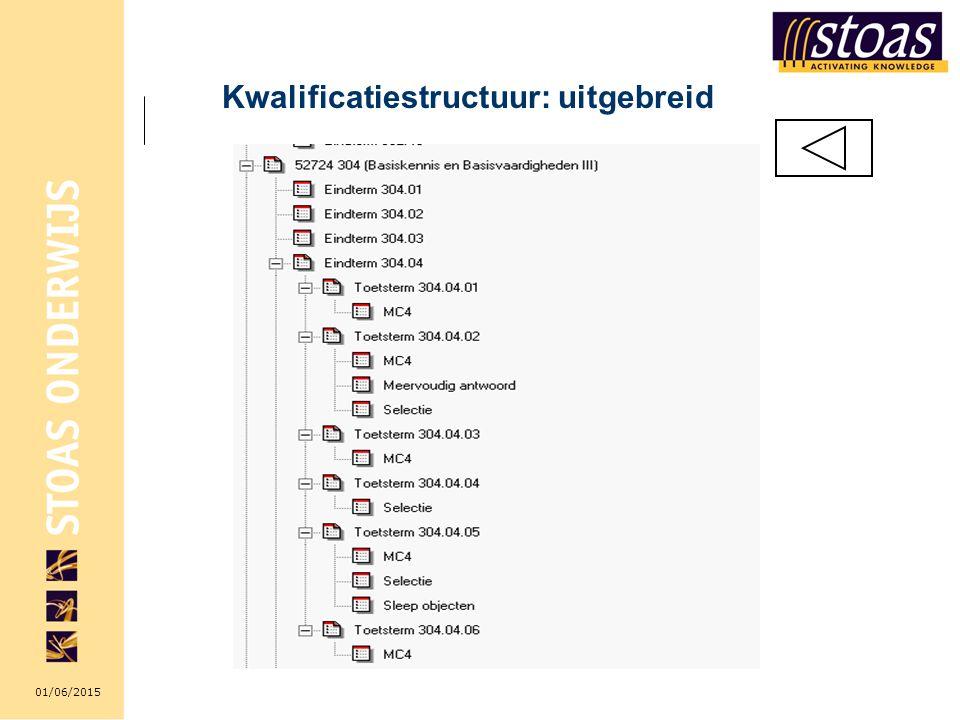 01/06/2015 Kwalificatiestructuur: uitgebreid