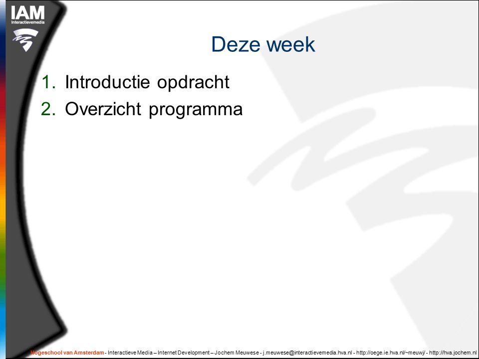 Hogeschool van Amsterdam - Interactieve Media – Internet Development – Jochem Meuwese - j.meuwese@interactievemedia.hva.nl - http://oege.ie.hva.nl/~meuwj/ - http://hva.jochem.nl Deze week 1.Introductie opdracht 2.Overzicht programma