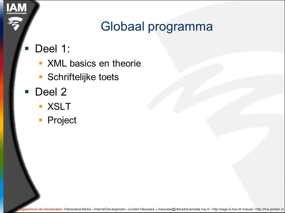 Hogeschool van Amsterdam - Interactieve Media – Internet Development – Jochem Meuwese - j.meuwese@interactievemedia.hva.nl - http://oege.ie.hva.nl/~meuwj/ - http://hva.jochem.nl Globaal programma  Deel 1:  XML basics en theorie  Schriftelijke toets  Deel 2  XSLT  Project