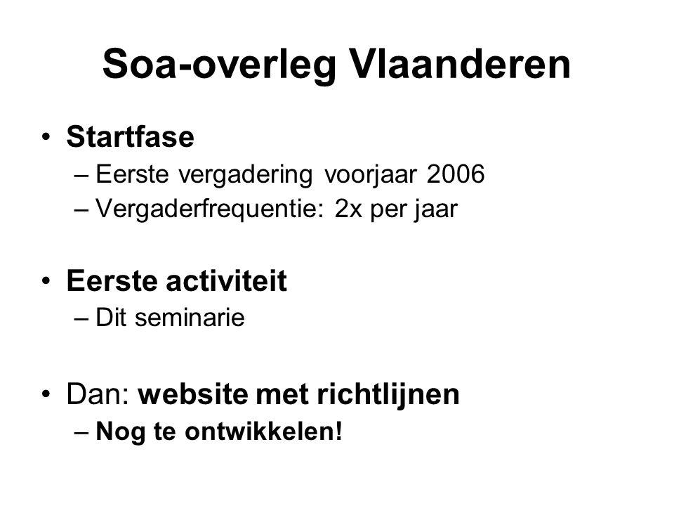Soa-overleg Vlaanderen Startfase –Eerste vergadering voorjaar 2006 –Vergaderfrequentie: 2x per jaar Eerste activiteit –Dit seminarie Dan: website met richtlijnen –Nog te ontwikkelen!