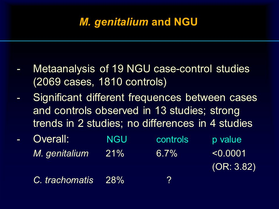 M. genitalium and NGU -Metaanalysis of 19 NGU case-control studies (2069 cases, 1810 controls) - Significant different frequences between cases and co