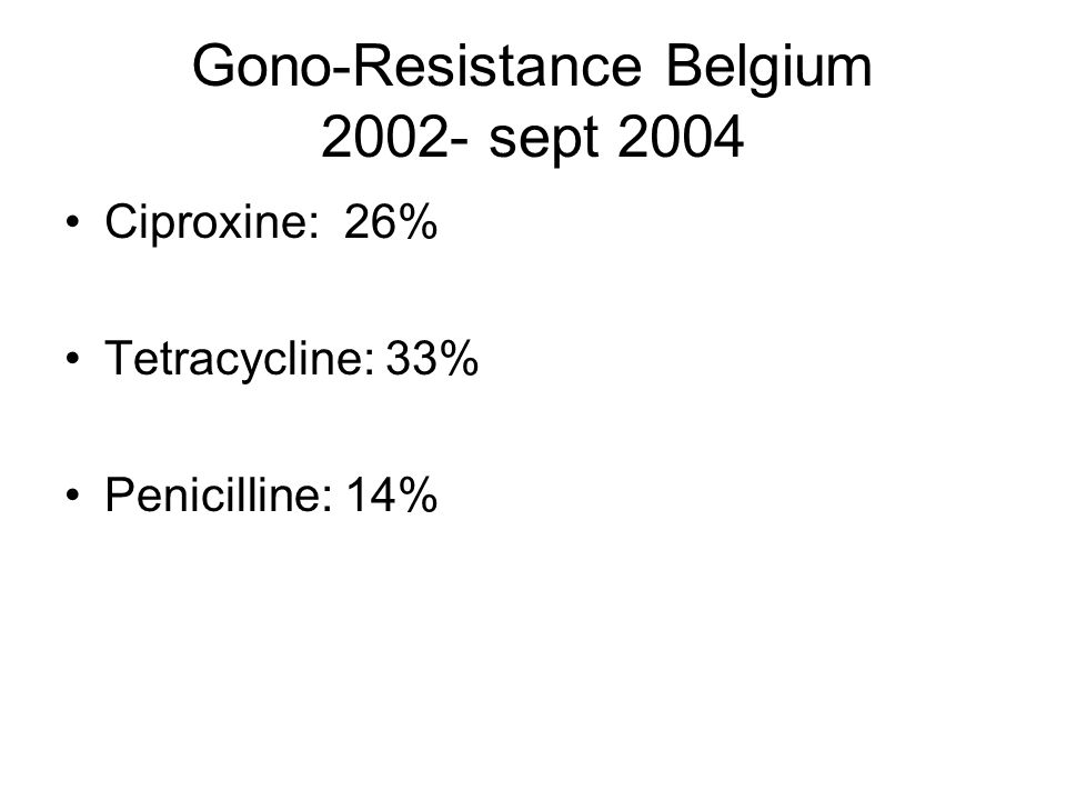 Gono-Resistance Belgium 2002- sept 2004 Ciproxine: 26% Tetracycline: 33% Penicilline: 14%