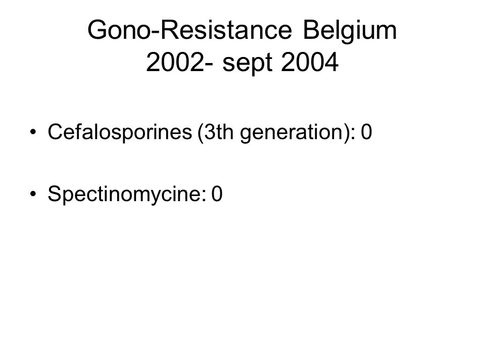 Gono-Resistance Belgium 2002- sept 2004 Cefalosporines (3th generation): 0 Spectinomycine: 0