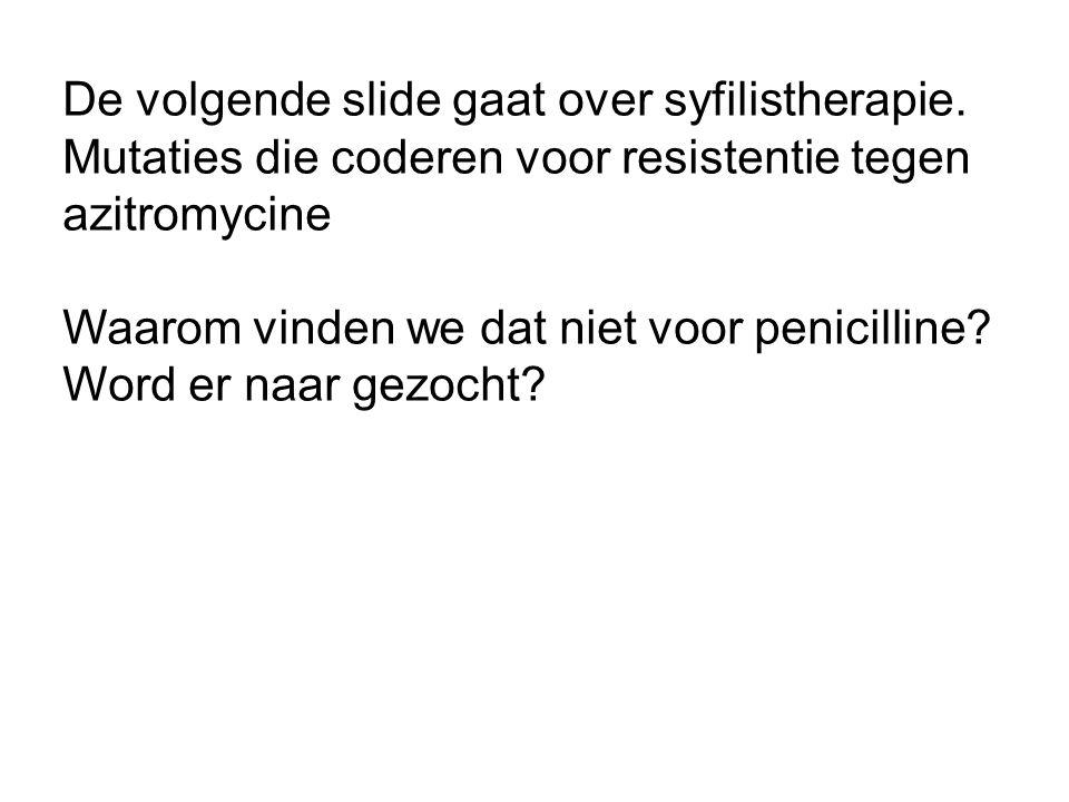 De volgende slide gaat over syfilistherapie.