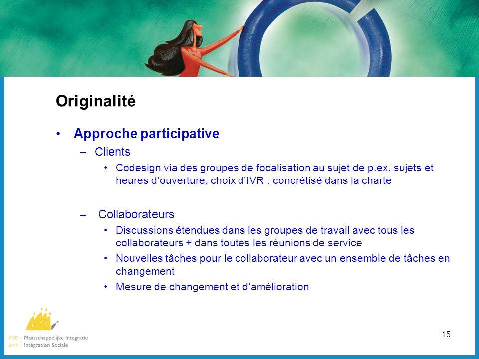 15 Originalité Approche participative –Clients Codesign via des groupes de focalisation au sujet de p.ex.