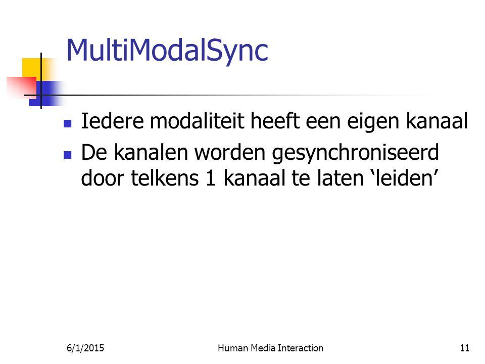 6/1/2015Human Media Interaction11 MultiModalSync Iedere modaliteit heeft een eigen kanaal De kanalen worden gesynchroniseerd door telkens 1 kanaal te laten 'leiden'