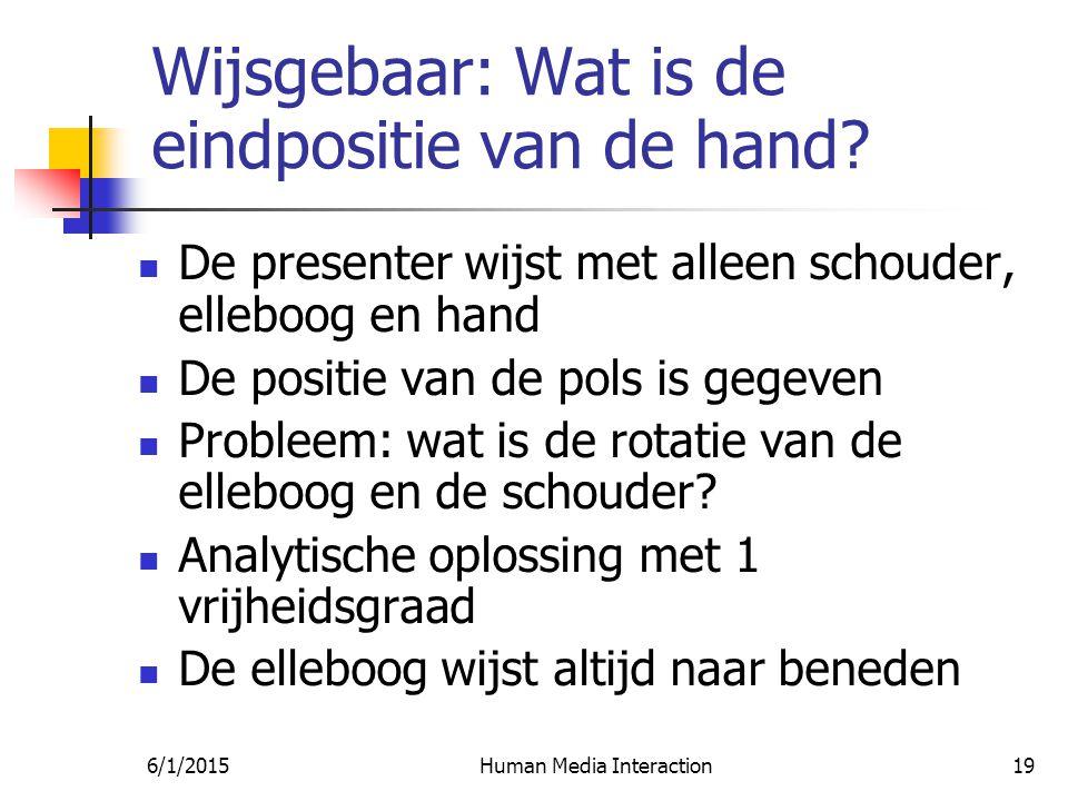 6/1/2015Human Media Interaction19 Wijsgebaar: Wat is de eindpositie van de hand.