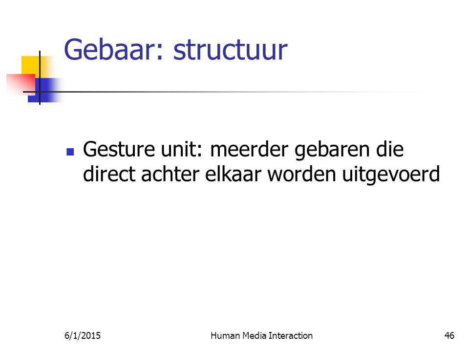 6/1/2015Human Media Interaction46 Gebaar: structuur Gesture unit: meerder gebaren die direct achter elkaar worden uitgevoerd