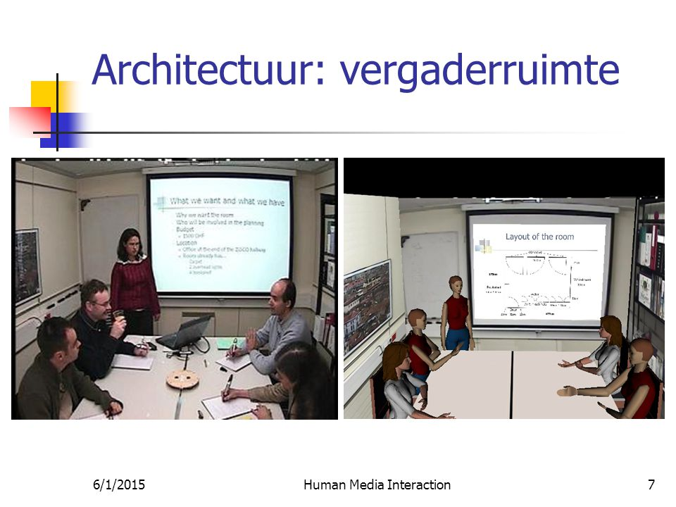6/1/2015Human Media Interaction7 Architectuur: vergaderruimte