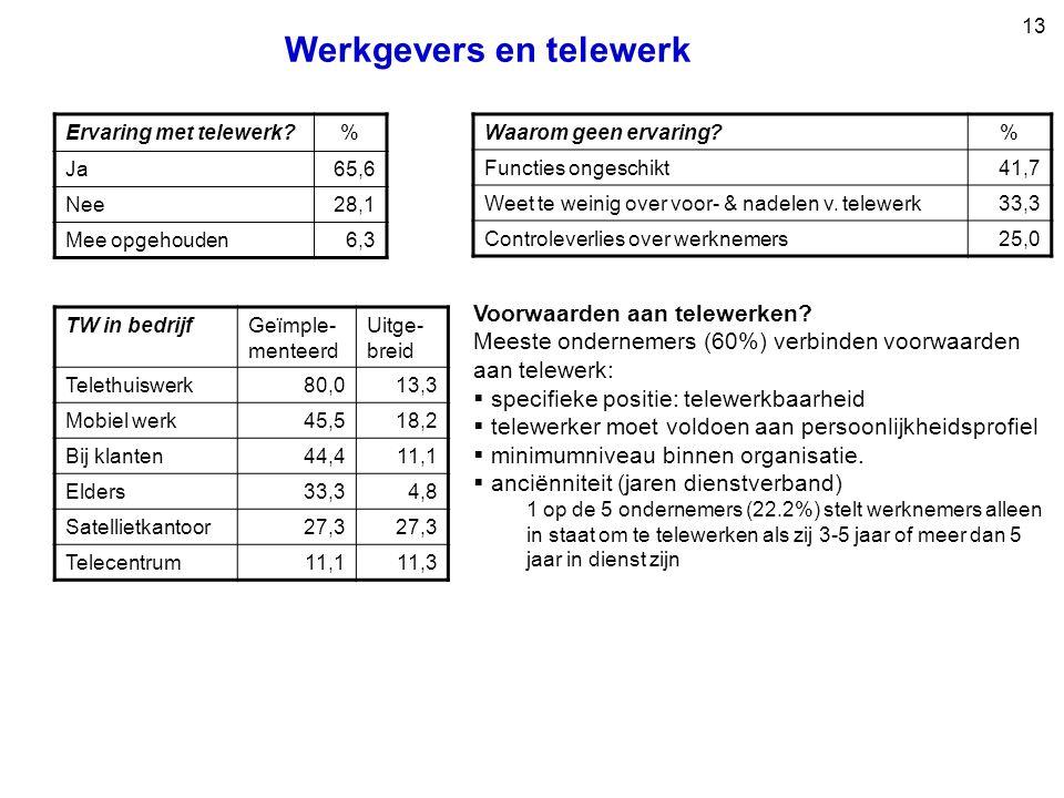13 Werkgevers en telewerk Voorwaarden aan telewerken.