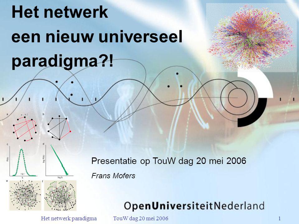 Het netwerk paradigma TouW dag 20 mei 20061 Het netwerk een nieuw universeel paradigma .