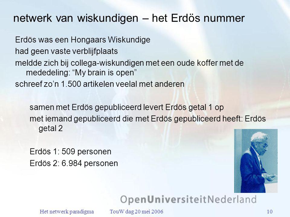 Het netwerk paradigma TouW dag 20 mei 200610 netwerk van wiskundigen – het Erdös nummer Erdös was een Hongaars Wiskundige had geen vaste verblijfplaats meldde zich bij collega-wiskundigen met een oude koffer met de mededeling: My brain is open schreef zo'n 1.500 artikelen veelal met anderen samen met Erdös gepubliceerd levert Erdös getal 1 op met iemand gepubliceerd die met Erdös gepubliceerd heeft: Erdös getal 2 Erdös 1: 509 personen Erdös 2: 6.984 personen