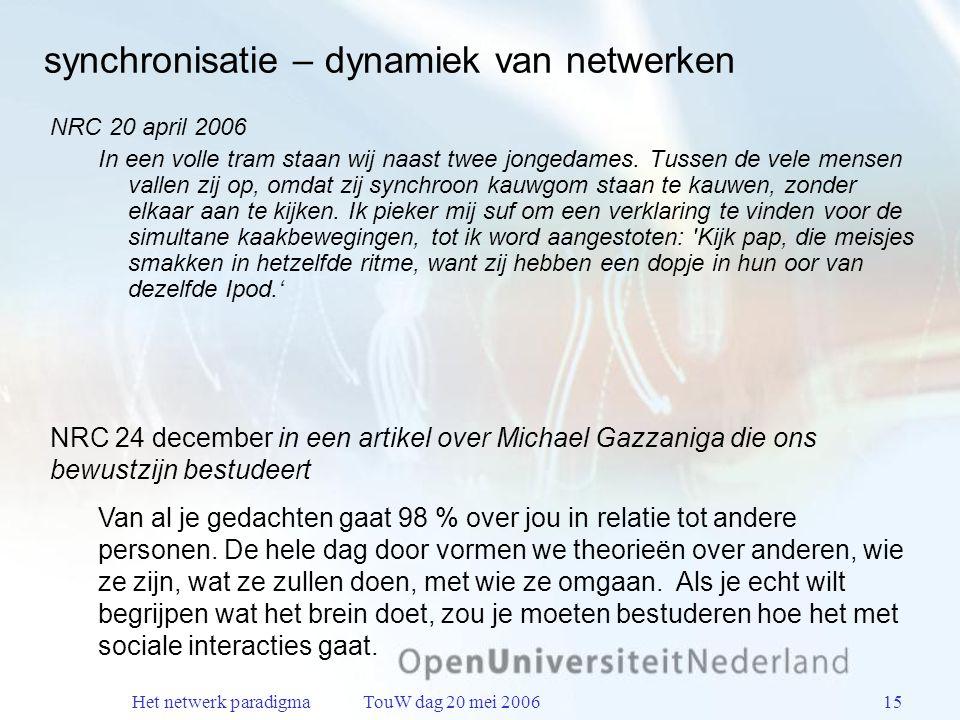 Het netwerk paradigma TouW dag 20 mei 200615 synchronisatie – dynamiek van netwerken NRC 20 april 2006 In een volle tram staan wij naast twee jongedames.