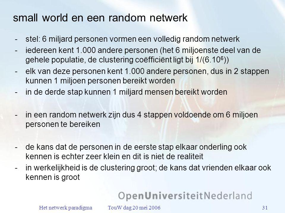 Het netwerk paradigma TouW dag 20 mei 200631 small world en een random netwerk stel: 6 miljard personen vormen een volledig random netwerk iedereen kent 1.000 andere personen (het 6 miljoenste deel van de gehele populatie, de clustering coëfficiënt ligt bij 1/(6.10 6 )) elk van deze personen kent 1.000 andere personen, dus in 2 stappen kunnen 1 miljoen personen bereikt worden in de derde stap kunnen 1 miljard mensen bereikt worden in een random netwerk zijn dus 4 stappen voldoende om 6 miljoen personen te bereiken de kans dat de personen in de eerste stap elkaar onderling ook kennen is echter zeer klein en dit is niet de realiteit in werkelijkheid is de clustering groot; de kans dat vrienden elkaar ook kennen is groot