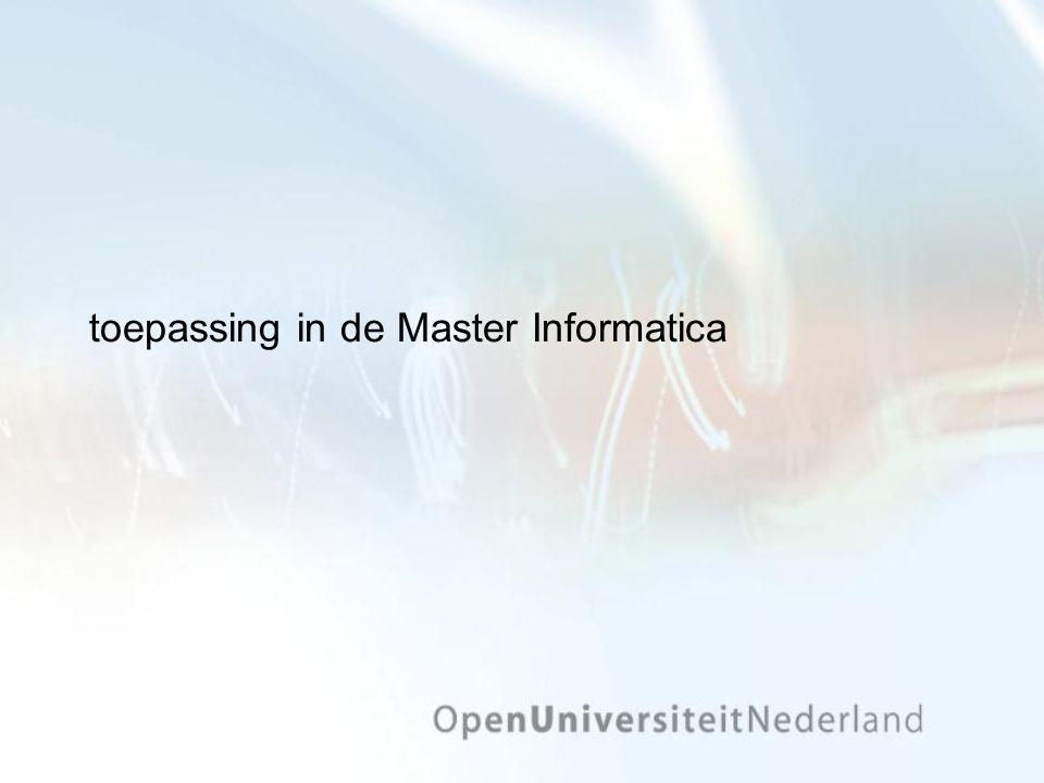 toepassing in de Master Informatica