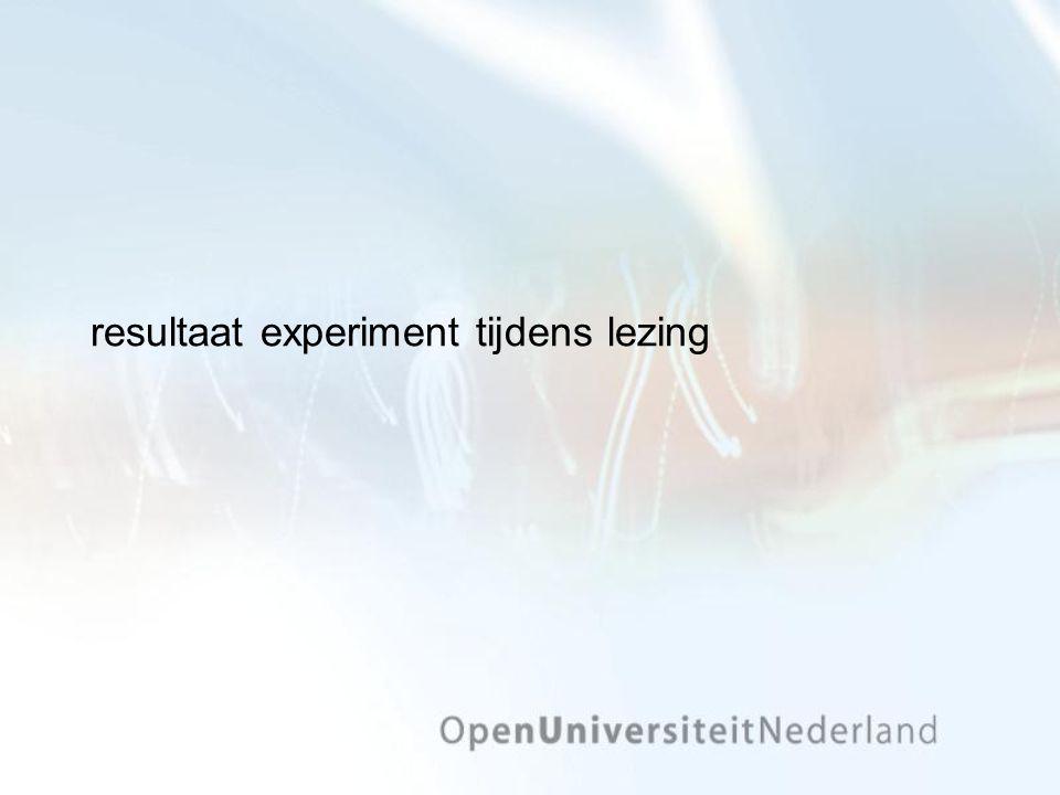 resultaat experiment tijdens lezing