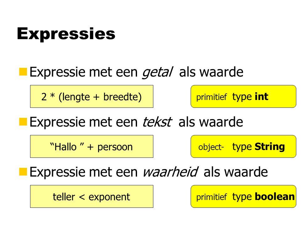 Expressies nExpressie met een getal als waarde nExpressie met een tekst als waarde nExpressie met een waarheid als waarde 2 * (lengte + breedte) Hallo + persoon teller < exponent type int type boolean type String primitief object- primitief