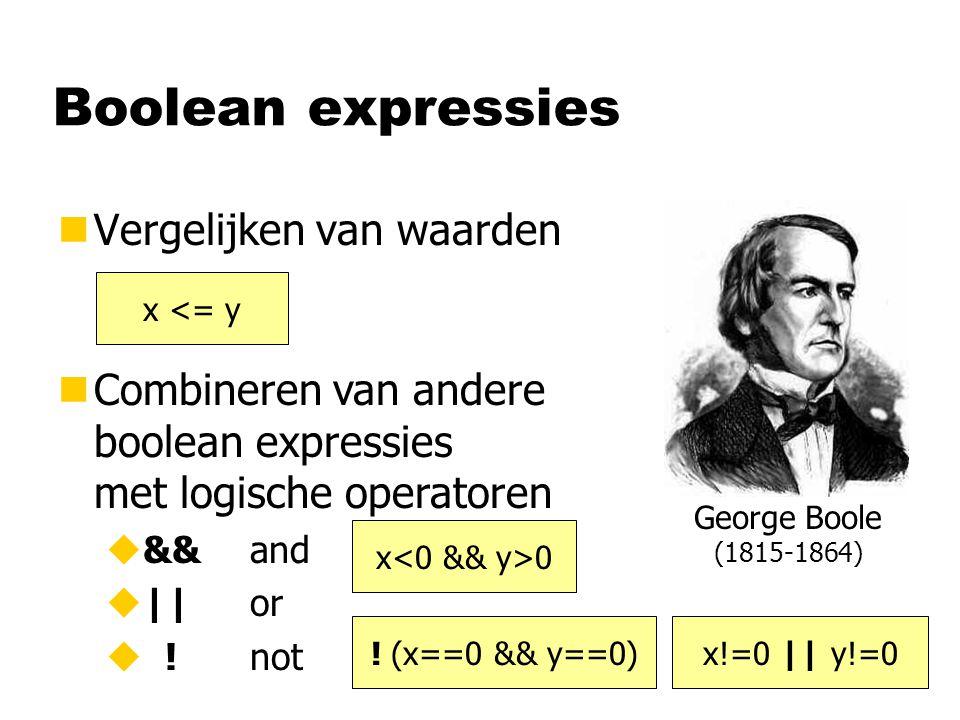 Boolean expressies nVergelijken van waarden nCombineren van andere boolean expressies met logische operatoren u&&and u||or u !not x <= y x 0 .