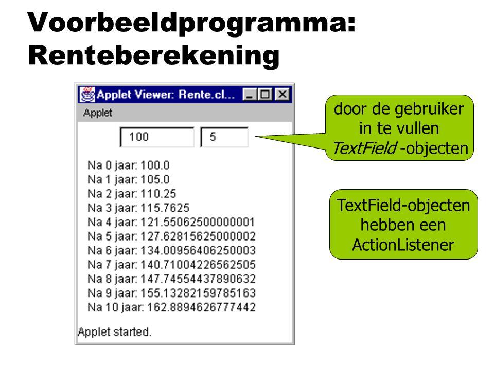 Voorbeeldprogramma: Renteberekening door de gebruiker in te vullen TextField -objecten TextField-objecten hebben een ActionListener