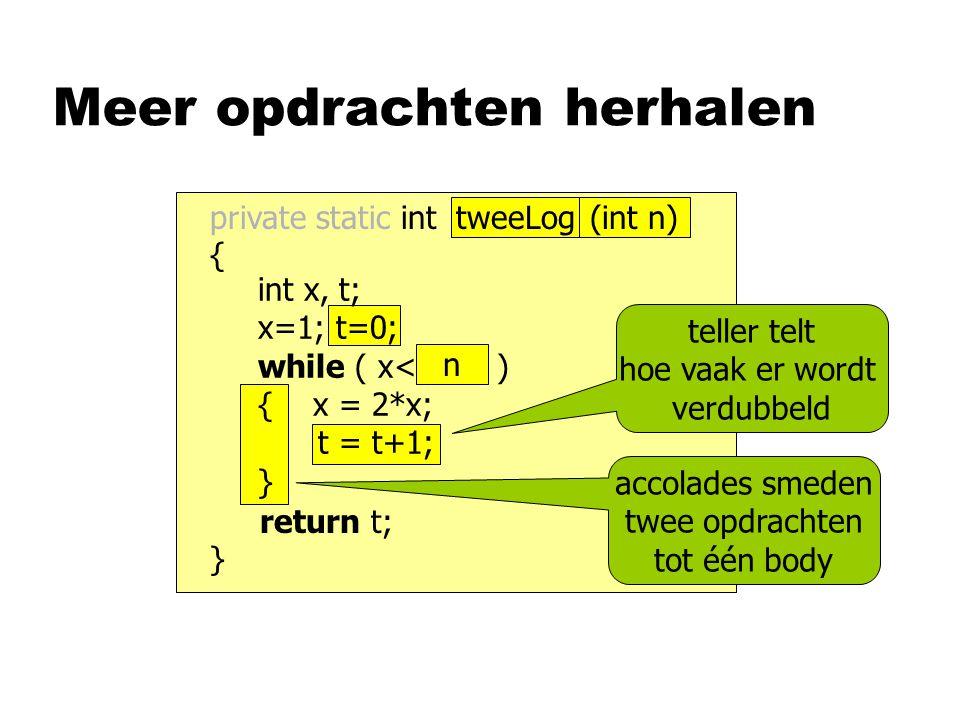 Meer opdrachten herhalen int x, t; x=1; t=0; while ( x<1000 ) { x = 2*x; t = t+1; } return t; } n private static int naam ( ) { accolades smeden twee opdrachten tot één body teller telt hoe vaak er wordt verdubbeld (int n)tweeLog