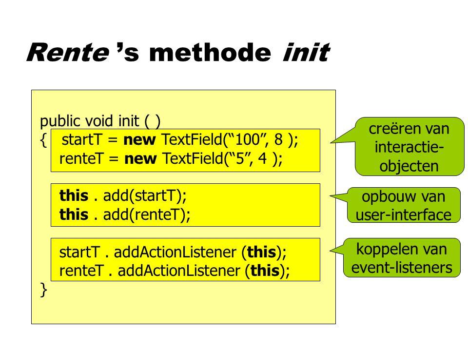 public void init ( ) { startT = new TextField( 100 , 8 ); renteT = new TextField( 5 , 4 ); this.