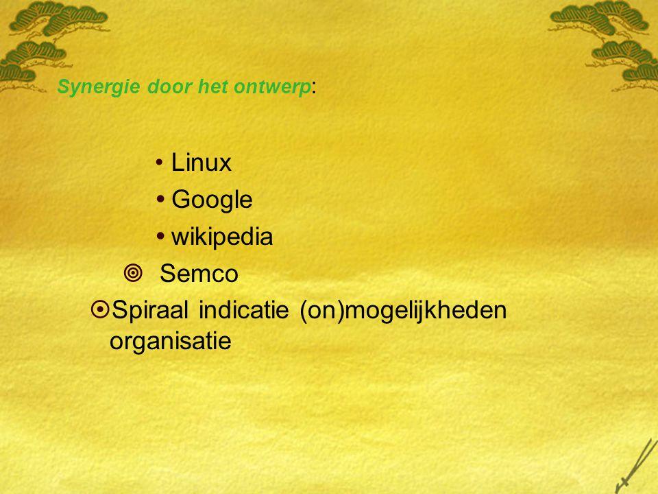 Synergie door het ontwerp : Linux  Google  wikipedia  Semco  Spiraal indicatie (on)mogelijkheden organisatie