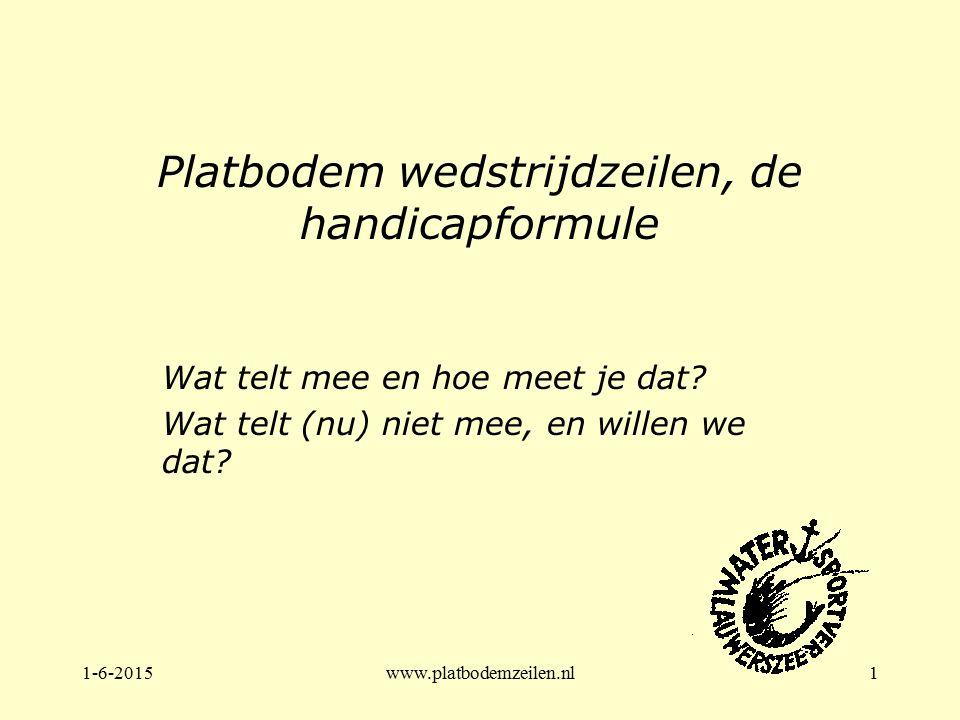 1-6-2015www.platbodemzeilen.nl1 Platbodem wedstrijdzeilen, de handicapformule Wat telt mee en hoe meet je dat? Wat telt (nu) niet mee, en willen we da