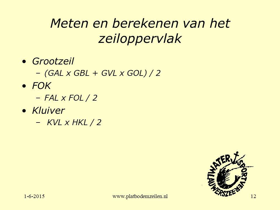 1-6-2015www.platbodemzeilen.nl12 Meten en berekenen van het zeiloppervlak Grootzeil –(GAL x GBL + GVL x GOL) / 2 FOK –FAL x FOL / 2 Kluiver – KVL x HK