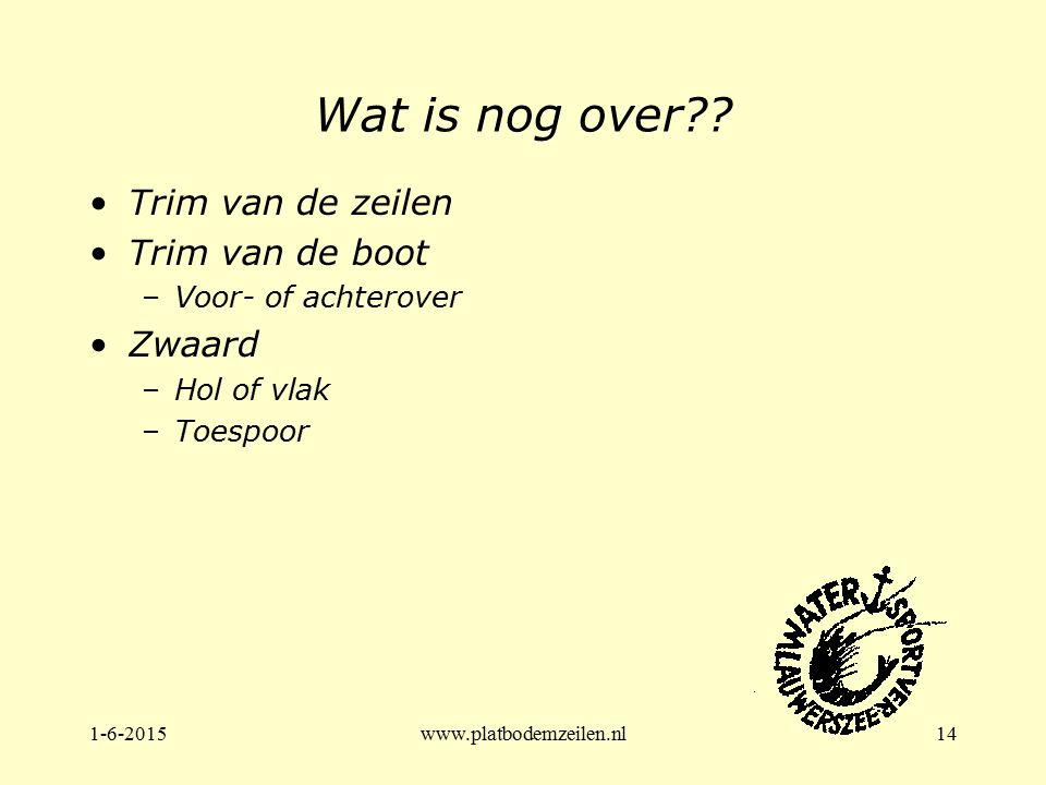 1-6-2015www.platbodemzeilen.nl14 Wat is nog over?? Trim van de zeilen Trim van de boot –Voor- of achterover Zwaard –Hol of vlak –Toespoor