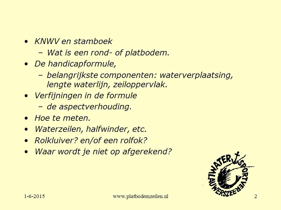 1-6-2015www.platbodemzeilen.nl2 KNWV en stamboek –Wat is een rond- of platbodem. De handicapformule, –belangrijkste componenten: waterverplaatsing, le