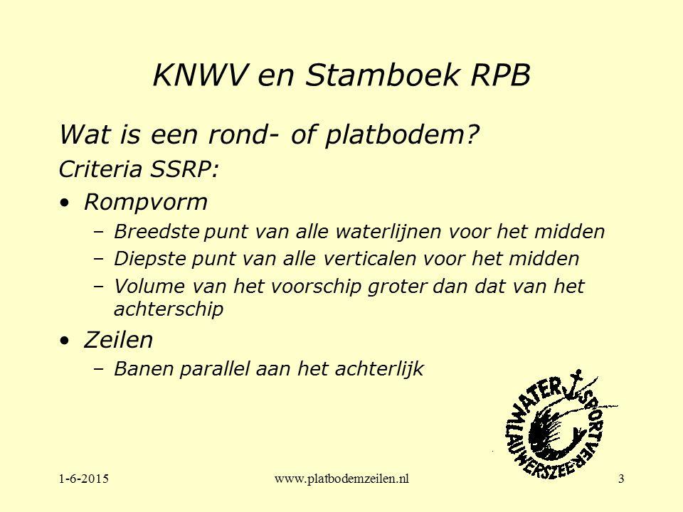 1-6-2015www.platbodemzeilen.nl3 KNWV en Stamboek RPB Wat is een rond- of platbodem? Criteria SSRP: Rompvorm –Breedste punt van alle waterlijnen voor h